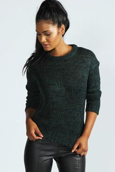 Megan Split Hem Exposed Zip Marl Jumper at boohoo.com