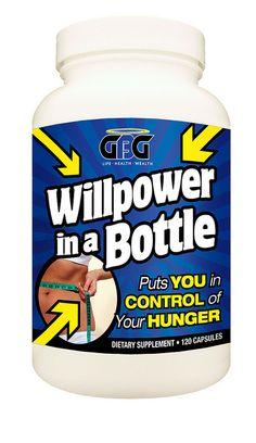 "Willpower in a Bottle – Puts YOU in CONTROL of your HUNGER!  It is a unique, state of the art product. This proprietary formulation addresses both the ""brain"" and ""body"" aspects of weight management.  ·Helps reduce carbohydrate cravings  ·Supports healt Excelent information on healthy diets"