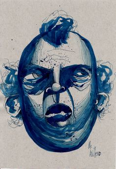 anthead 8.5X11 80# paper blue ink sketch outsider lowbrow graffiti art urban pop #OutsiderArt