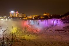 Frozen Niagara Falls at Night - Bing images Niagara Falls At Night, Creative Pictures, Bing Images, Frozen, Canada, Winter, Summer, Travel, Viajes