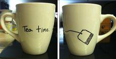 DIY sharpie mug. Tea time.
