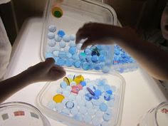 translucent color circles and water beads transfer