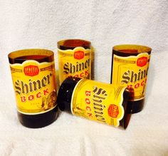 Set of 4 Shiner Bock beer bottle tumbler glasses. Made from recycled bottles. Each glass is hand cut then carefully sanded to remove all sharp edges. Labels are coated with a waterproof acrylic sealer