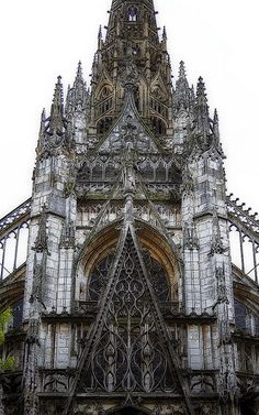 "LATER FRENCH GOTHIC: St. Maclou, Rouen, France, C. 1500-1514. While the Renaissance was already in full swing in Italy, the French were pushing the extremes with elaborate ornamentation as seen in the exquisite traceries of St. Maclou. Considered one of the best examples of the ""Flamboyant style"" of Gothic architecture in France."