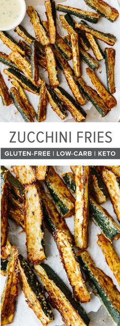These baked zucchini fries are ultra cheesy and flavorful with freshly grated Parmesan cheese. They're also gluten-free, low-carb, paleo and keto-friendly for a delicious, healthy snack recipe. #zucchini #zucchinifries #zucchinirecipes #bakedzucchinifries