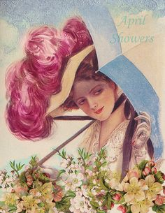 ≒ Gibson Girls ≓ Illustrations from the Belle Époque - April Showers, Harrison Fisher