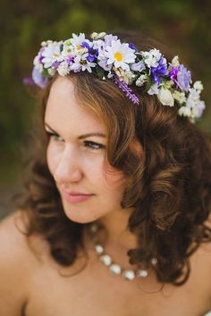 Each halo I make with creativity and love! New Violet bridal flower crown, lavender purple wedding headpiece wedding hair wreath accessories. Deluxe handmade Bridal flower crown in a mix of silk flowers, daisies, rosebuds and more. Made to order, please allow 2 weeks. This is an all