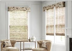 Natural Woven Waterfall Shades in 14907 Safina/ Mist layered with Cameron Upholstered Cornices in 12938 Metallic Leaves/ Silver Smith And Noble, Custom Window Treatments, Custom Windows, Kitchen Doors, Window Coverings, Shutters, The Help, Blinds, Cornices