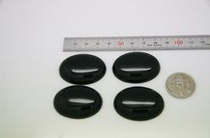 4pcs  black agate plain oval sized 30 by 40mm by 3yes on Etsy