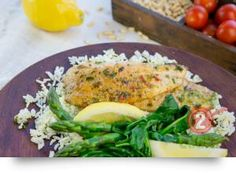 Fish with Lemon & Mediterranean Seasoning, & Chive Rice: A quick & healthy fish dinner. If you prefer, use your favourite white fish. Mediterranean Seasoning, 15 Minute Dinners, Midweek Meals, Fish Dinner, Dinner Ideas, Clean Eating, Lemon, Chicken, Cooking