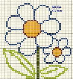 Maria Gomes : Os Meus Gráficos de Ponto Cruz Cross Stitching, Cross Stitch Embroidery, Cross Stitch Patterns, Cross Stitch Flowers, Kids Rugs, Knitting, Crafts, Cross Stitch Bird, Mini Cross Stitch