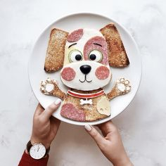Let's give a name to this cute puppy together? Cute Food, Good Food, Food Art For Kids, Food Kids, Childrens Meals, Breakfast Toast, Food Decoration, Food Crafts, Food Humor