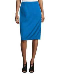 Mid-Rise Pencil Skirt, Cobalt