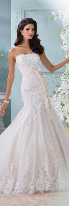 The David Tutera for Mon Cheri Spring 2016 Wedding Gown Collection - Style No. 116225 Thea #laceweddingdress