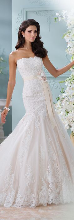 The David Tutera for Mon Cheri Spring 2016 Wedding Gown Collection - Style No. 116225 Thea #laceweddingdress
