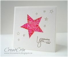 """By Erin Schulte. Large star made by spongin with pinks & oranges inside a die-cut star-shaped mask. Gel pen """"strings."""" Small stars punched. Note: 2 sizes. A couple of stars punched with larger size & """"filled"""" with star of smaller size. Pretty!"""