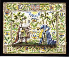 17th Century English beadwork dressing box with three dimensional figures of Charles II and Catherine of Braganza embroidered in colorful glass beads on display at Elliott & Grace Snyder, Massachusetts.