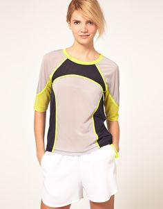 Asos Top with Airtex and Color Block in Multicolor (Multi)   Lyst