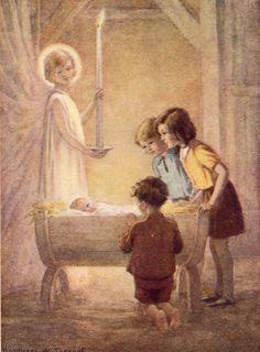 "Margaret Tarrant Christmas ""The Crib"" Vintage Bookplate 1941"