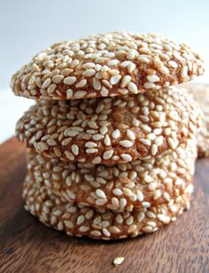Honey Sesame Cookies-Soft cookies made with honey sweetened dough get a double dose of sesame flavor from sesame puree (tahini) and sesame seeds.| The Monday Box