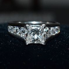 2.00Ct Princess & Round Cut Moissanite & Diamond Engagement Ring 14K Gold #SolitairewithAccents