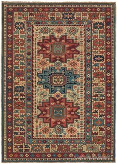 Caucasian Lesghi, 3ft 2in x 4ft 5in, 3rd Quarter, 19th Century.  This highly collectible 19th century tribal rug reveals why the weaving tradition of the Caucasus Mountains is such a compelling one. A masterpiece of the prized Lesghi subgroup, its alternating bold and delicate patterning, coupled with its expansive palette of rare hues, establish it as both a technical and artistic triumph.