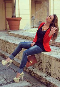 Coral + Blue  , Diesel en Jeans, BLVD SHOES en Tacones / Plataformas, Zara en Camisas / Blusas, French Connection en Blazers