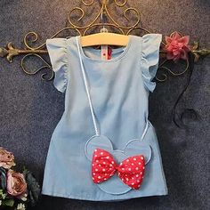2016 Baby Toddlers Kids Girl Solid Dress Minnie Mouse Sleeveless Bag Ruffles Demin Casual Dresses - Baby Girl Dress - Ideas of Baby Girl Dress - 2016 Baby Toddlers Kids Girl Solid Dress Minnie Mouse Sleeveless Bag Ruffles Demin Casual Dresses Buy it Now! Dresses Kids Girl, Kids Outfits Girls, Kids Girls, Cute Dresses, Girl Outfits, Casual Dresses, Party Dresses, Baby Girls, Casual Clothes