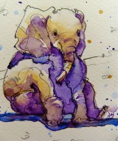 Nora MacPhail - Artist: baby elephant cards