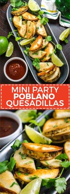 Mini Party Poblano Quesadillas. These smoky, cheesy finger foods are easy to make ahead and freeze for your parties all year long! | hostthetoast.com