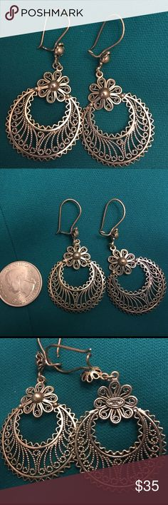 Earrings silver dangling 925 silver earrings, very intricate Jewelry Earrings