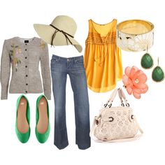 Yellow, Green, Beige / Nude, Jeans, Gold, Coral Outfit