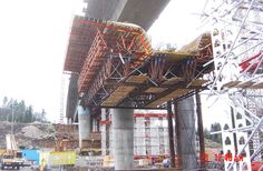 This is an image showing  heavy form work lifting for the purpose of constructing bridges in Axhult, Sweden.