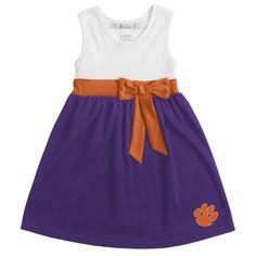 chicka-d Clemson Tigers Girls Toddler Purple/Orange Babydoll Bowtie Dress