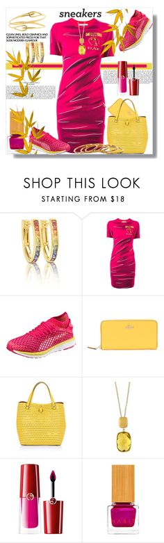 """Love Moschino T-Shirt Dress and Sneakers"" by helenaymangual ❤ liked on Polyvore featuring Moschino, Coach, Karen Millen, Effy Jewelry, Giorgio Armani, Habit Cosmetics and Gorjana"