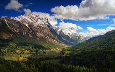 Scarica sfondi Dolomiti, valle di montagna, estate, montagna, catena montuosa, Italia