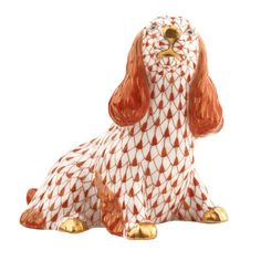 Herend Figurines Prices   Herend Porcelain Fishnet Figurine of a Sitting Spaniel