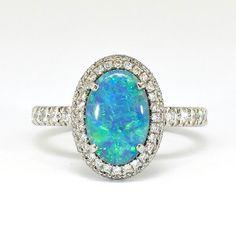Unique 2.95ct t.w. Black Opal & Diamond Filigree Platinum Ring | Antique & Estate Jewelry | Jewelry Finds