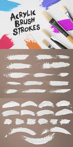 30 Acrylic Brush Strokes for Photoshop Acrylic Brushes, Paint Brushes, Photoshop Brushes, Brush Strokes, 30th, Templates, Painting, Design, Stencils