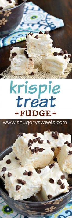 This Rice Krispie Treat Fudge recipe is the best of both fudge and rice krispie treats! You'll love the sweet vanilla fudge packed with gooey marshmallow! Fudge Recipes, Candy Recipes, Sweet Recipes, Dessert Recipes, Just Desserts, Delicious Desserts, Yummy Food, Yummy Treats, Sweet Treats