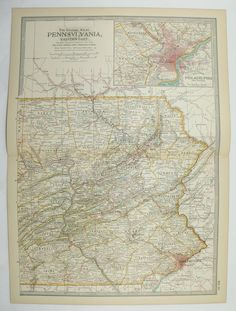 Eastern Pennsylvania Map 1899 State Map, Philadelphia Lancaster PA, Vintage Map, US Geography Art Gift for New Home, History Gift available from OldMapsandPrints on Etsy