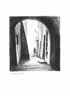 Interesting and mysterious sketch with a soul. European architecture. Interesting perspective of old street. Black ink on white paper.