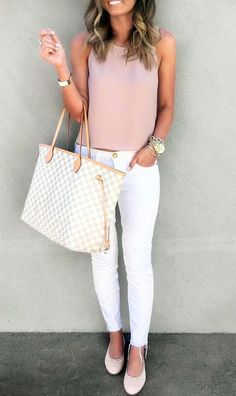 Blush + white. stylist:: Love the top especially the color. I could pair this color with so many things