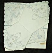 6 Vintage Linen Table Napkins Azores Portugal Embroidery Flower Basket Unused…