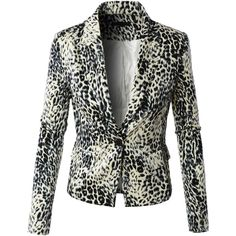 LE3NO Womens Fitted Fully Lined Single Button Leopard Blazer Jacket ($31) ❤ liked on Polyvore featuring outerwear, jackets, blazers, leopard print jacket, leopard blazer, black fitted jacket, fitted blazer and one button blazer