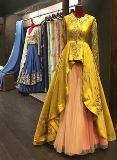 45 Ideas Indian Bridal Wear Yellow Products For 2019 Indian Lehenga, Lehenga Anarkali, Indian Gowns, Pakistani Dresses, Jacket Lehenga, Designer Bridal Lehenga, Designer Gowns, Lehenga Designs, Indian Bridal Wear