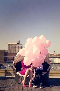 roof top engagement with balloons