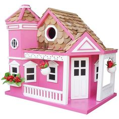 Home Bazaar Sea Cliff Cottage Birdhouse (€105) ❤ liked on Polyvore featuring home, outdoors, outdoor decor, outdoor, white bird house, outdoor patio decor, cottage garden decor and outdoor bird houses