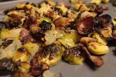 Roasted Brussel Sprouts with Bacon, Apple & Pear... Recipe now up on my blog!