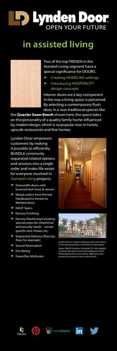 Lynden Door is a major manufacturer of interior doors, serving markets in the USA, Canada and international regions. Marketing Information, Assisted Living, Door Opener, Hospitality Design, Living Spaces, Doors, Future, Future Tense, Gate